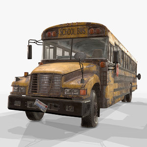 3D abandoned school bus - model