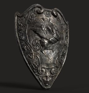 3D old medieval shield model