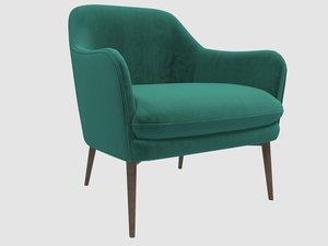 3D charmy armchair velvet green