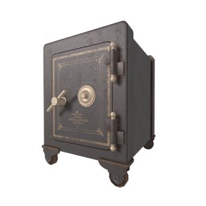 3D stylized old iron safe model