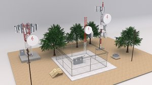 telecommunication towers scene 3D model