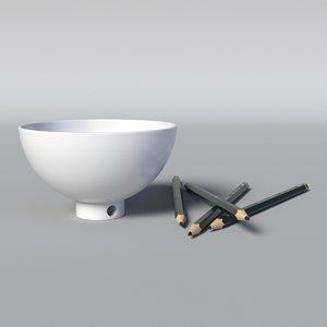 3D bowl sharpener pen