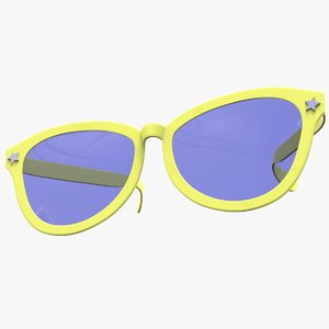 funny yellow exaggerated sunglasses 3D model