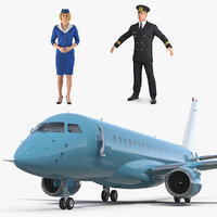 Commercial Airliner with Pilot and Stewardess Collection