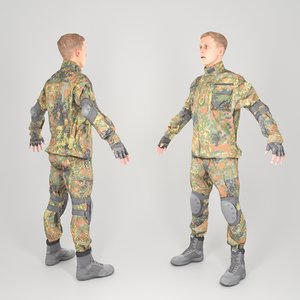 3D equipped soldier military uniform model