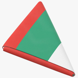 3D flag folded triangle bulgaria model