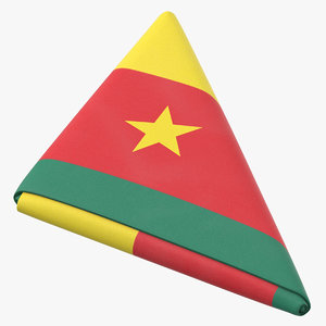 3D flag folded triangle cameroon