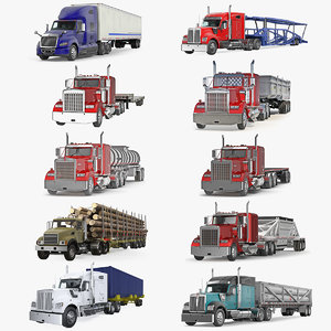 3D industrial trucks trailers