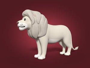 3D cartoon white lion