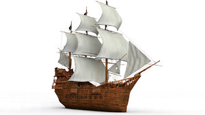 3D black sail ship model