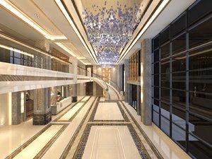 3D interior scene lobby lounge model
