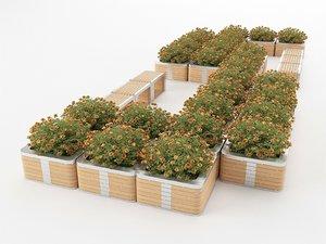 flowerbed bench 3D model