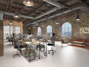 3D model loft office interior