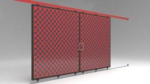 factory sliding door warehouses 3D model