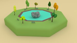 cartoon oasis scene 3D