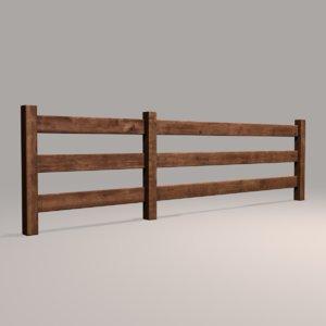 3D model wood fence 09