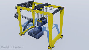 gantry crane harbor rtg 3D model
