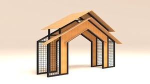 3D model gate wiremesh wood