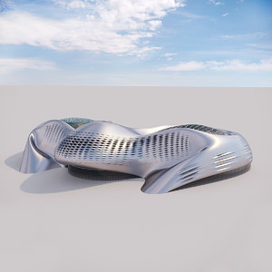 futuristic building 16 architectural 3D model