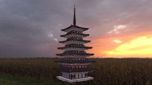 3D japanese pagoda model