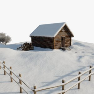 winter log cabin 3D model