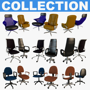 3D office chairs model