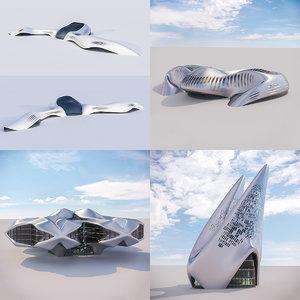 futuristic building 4x architectural 3D