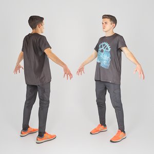 scanned animation ready human 3D model