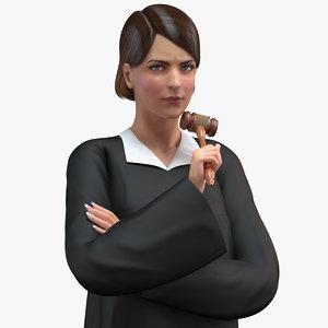 female judge gavel rigged woman 3D model