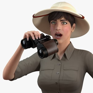 3D women zookeeper clothes rigged woman model