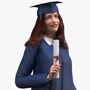3D female graduate student rigged woman model