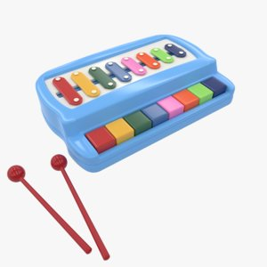 3D kids xylophone piano toy model