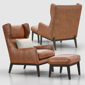 ryder leather chair ottoman 3D model