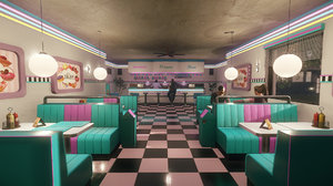 diner 80s low-poly model