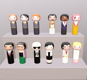 japanese dolls 3D model