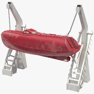 3D rescue boat davit crane model
