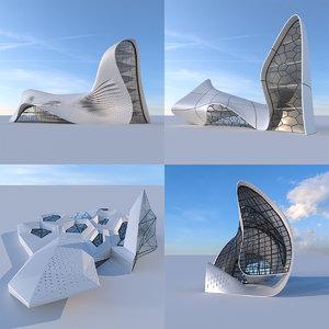 futuristic building 4x 2 3D model