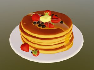 pancakes honey plate 3D model