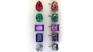 3D solitaire gem earrings model