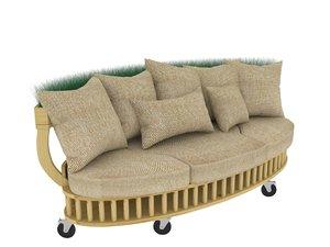 3D sofa wood model