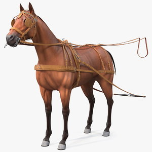 3D horse leather single driving model