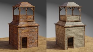 wooden military tower 3D model