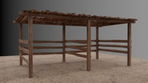 small wooden shed 3D