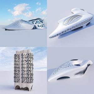 futuristic building 4x 3 3D model