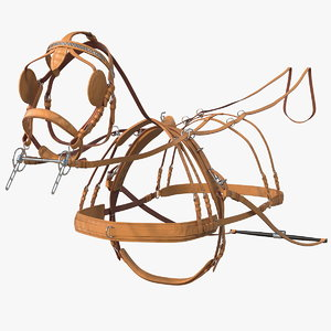 leather single driving harness 3D model