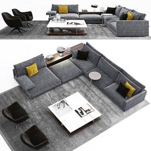 1 poliform bristol sofa 3D
