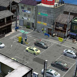 japanese residential street 0003 3D model