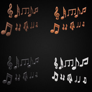 3D musical signs symbols