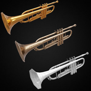 trumpet music instrument pbr 3D model