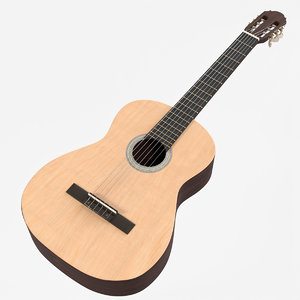 3D wooden classical guitar model